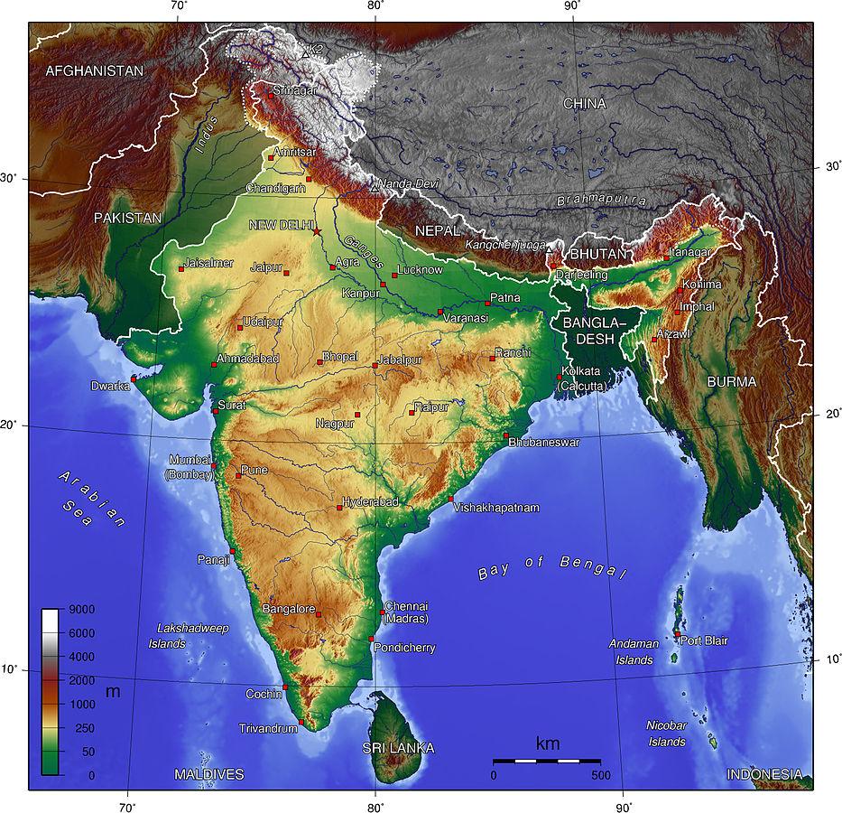 Indien topografisk karta